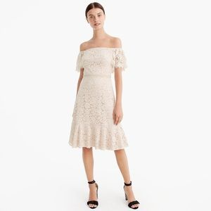 Gorgeous off the shoulder lace J Crew dress NWTs.